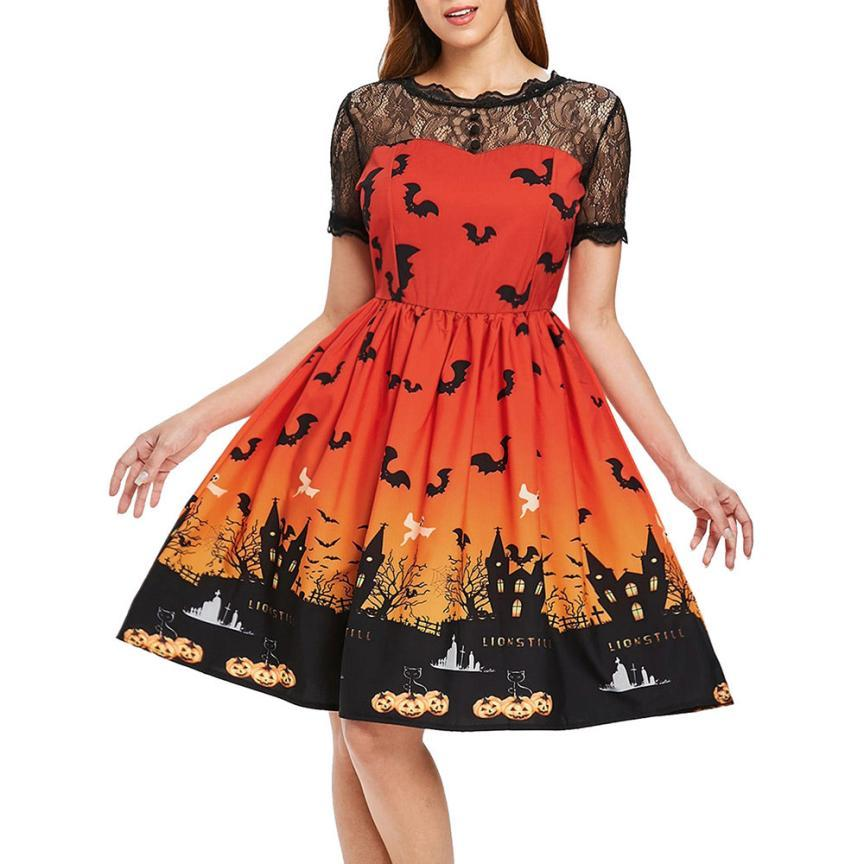 Women A-line Dress Autumn Fashion Pumpkin Printed Long Sleeves O-neck Short Dresses Gothic Halloween Party Robes Women's Clothing