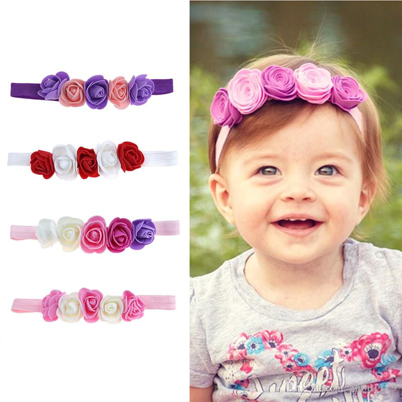 ef37be7211c3 Rose Ribbon Hair Bands Handmade DIY Headwear Photo Prop 3D Flower Hairband  Kids Child Newborn Baby Girl Headband Satin Accessory Free Ship Cute Hair  ...