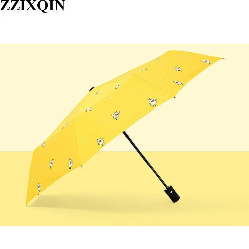 6ee06b8bd61c ZZIXQIN Ms. Small fresh Automatic Black Plastic Sun Umbrella Tri-fold  Sunshade Cartoon Ducklings Clear Umbrella Anti-UV2018 New