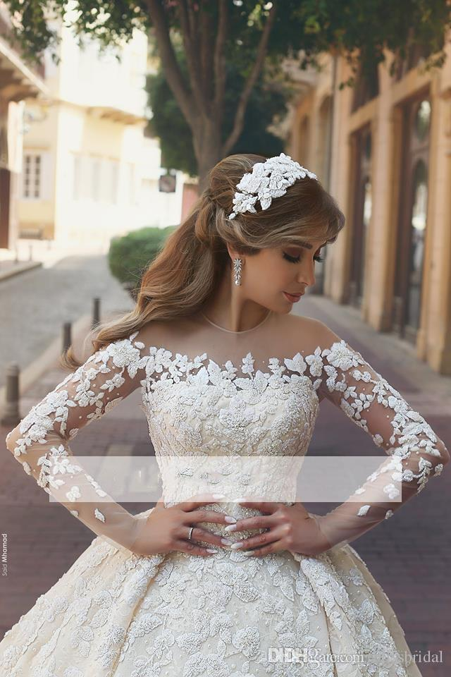 2018 New Gorgeous Sheer Neck Lace Wedding Dresses Long train Long Sleeves Crystals Ruffles Appliques Tulle Wedding Dresses