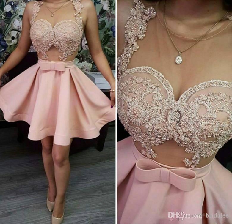 244a63857a Mini Short Prom Dresses Sleeveless Short Skirt Blush Pink Lace Applique  Pearls Illusion Sexy Evening Dresses New Coming Prom Gowns Stylish Prom  Dresses ...