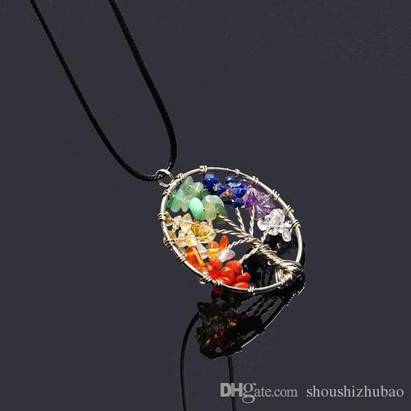 Vintage Women`s Girl Natural Crystal Quartz Gemstone 7 Chakra Healing Tree of Life Pendant Necklace Jewelry Gift Hot