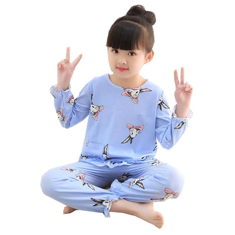 8363c2d81a Cotton Pajamas Children Girls Sleepwear Clothes Set Kids Cartoon ...