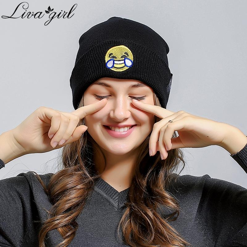 47314cbc9c0 2019 Funny Emoji 2018 New Unisex Hat Winter Skullies   Beanies Winter  Autumn Warm Novelty Hats For Women Men Fashion Cap V9 From Duriang