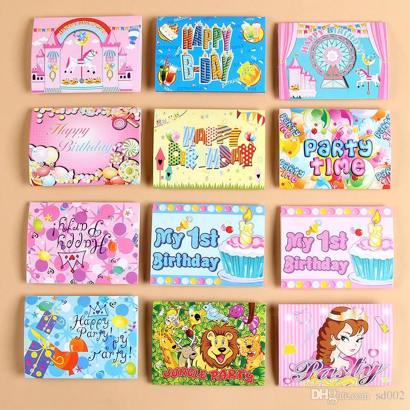 Carte D Invitation Anniversaire En Papier Licorne Flamingo Fille Garçon Cartoon Bande Dessinée Couronne Joyeux Anniversaire Invitations De Fête
