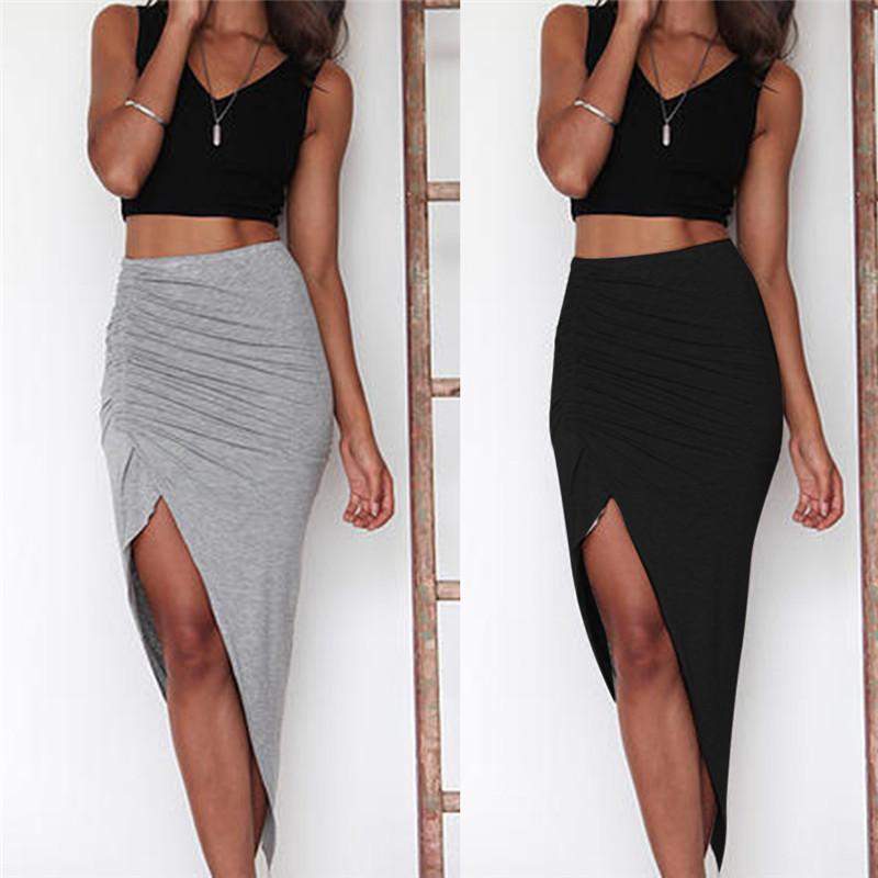 Compre Las Mujeres Flacas Slit Maxi Long Lápiz Falda Para Mujer Acanalada  Side Split Slim Hip Skirts Wholesale Black Grey A  41.75 Del Oott  c426f1cab61e