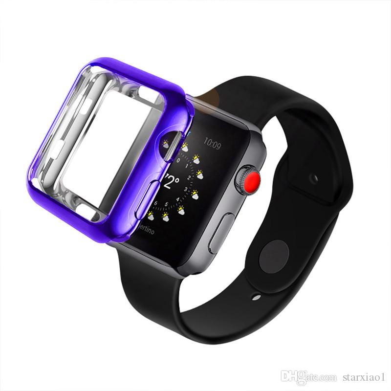 58a174f20bc Compre Chapeamento Macio Silicone Case Para Apple Watch Series 4 1 2 3  Galvanizar Capa Para Iwatch Protective 10 Cores TPU Shell 42 Mm 38 Mm 40 44  Mm Banda ...
