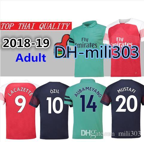 timeless design 2238c b20bc 18 19 Arsenal soccer jersey Thailand qulity 2018 2019 AUBAMEYANG MKHITARYAN  OZIL LACAZETTE XHAKA Gunman football shirt uniforms sales