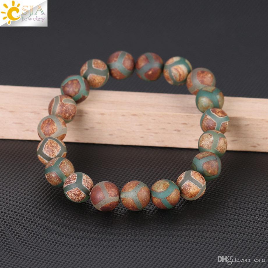 CSJA Natural Stone Green Stripe Agates Round Beads Bracelet Retro 10mm Handmade Reiki Healing Charm Jewelry Bangle Men Women Statement F247