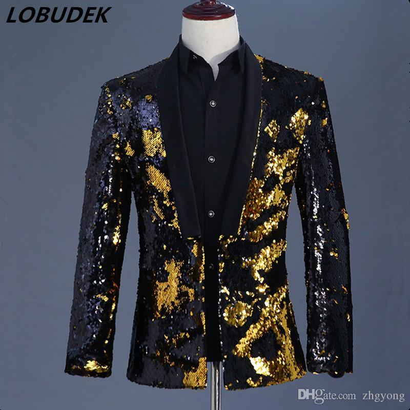 Compre Hombres Chaqueta De Oro Negro Doble Color Flipping Lentejuelas  Chaqueta Escudo Outfit Discoteca Bar Host Etapa Traje Masculino Cantante  Desempeño ... 292da433400