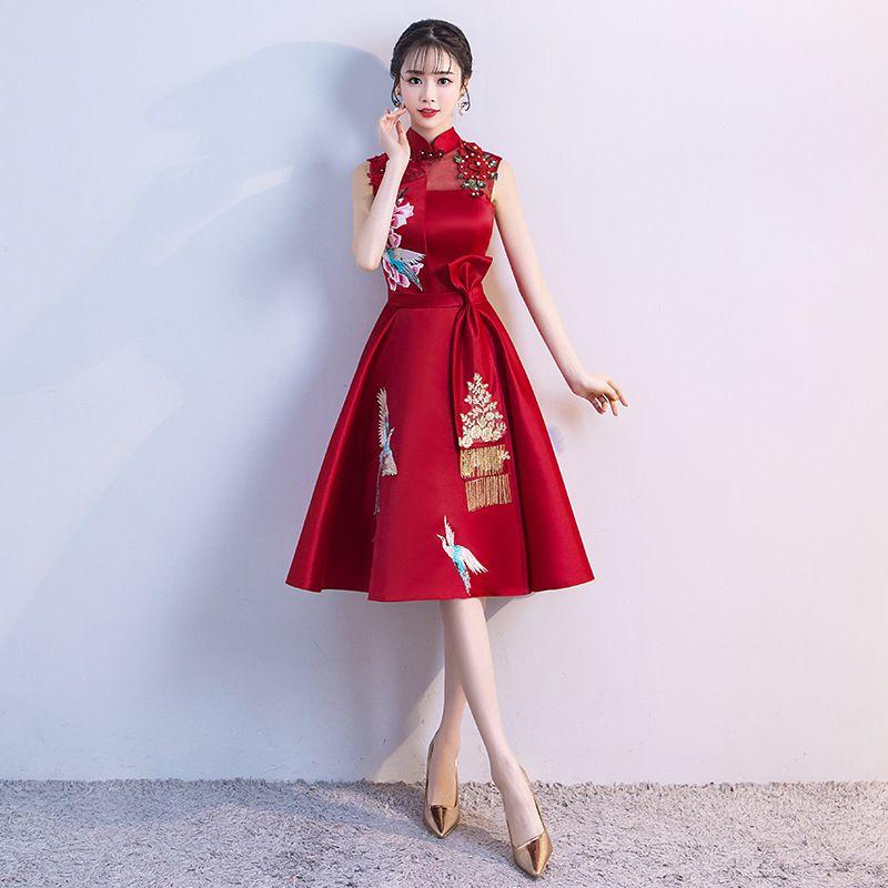 64084eb4b 2019 Ladies Evening Party Dress 2018 Summer Vintage Mandarin Collar Qipao  Floral Elegant Chinese Bride Wedding Cheongsam Vestidos From Vincant, ...