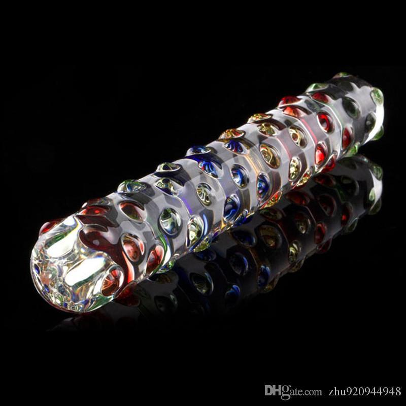 Dildo doble de cristal Pyrex Crystal Pene con partículas de masaje de colores Dildo anal Juguetes sexuales para mujer Pareja