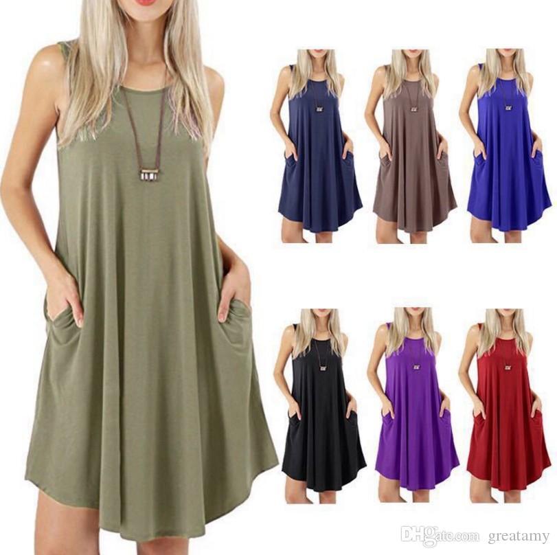 c02e5889b Las mujeres calientes de la venta de la manera sin mangas bolsillo tanque  casual más el tamaño del chaleco sólido vestido de oscilación 7 colores