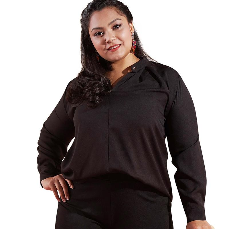 61cdf162388 Women 5XL XXXXL Plus Size Blouse Solid Color V Neck Long Sleeve Black Shirt  Simple Elegant Office Ladies Clothes Shirt Tops 2019 Online with   40.77 Piece on ...