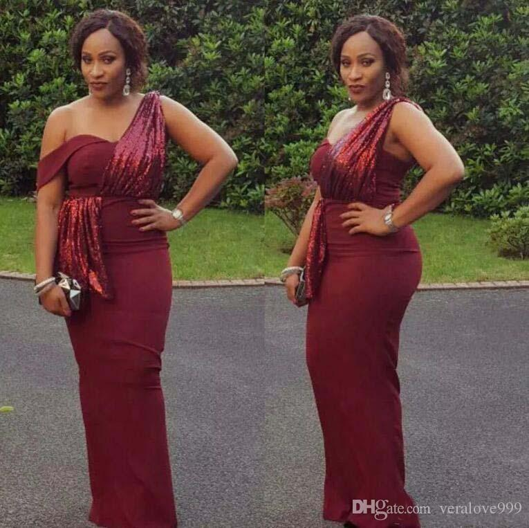 African Burgundy Long Prom Dresses One Shoulders Sequined Evening Gowns Cheap Vintage Black Girls Formal Party Wear