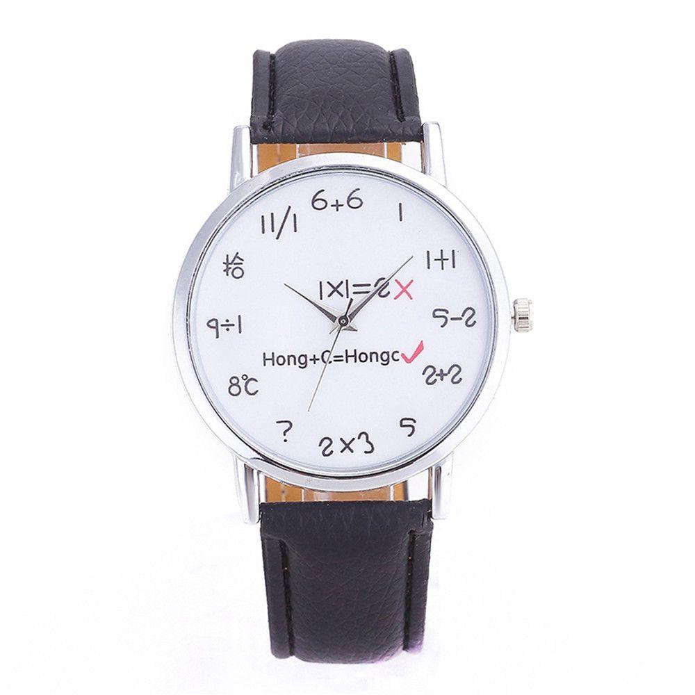 2eadbfbf3fb Compre Homens Relógio 2016 Mulheres De Luxo Símbolos Matemáticos Masculinos  Faux Couro Relógio De Quartzo Simples Clássico Relógio De Design Relogio ...