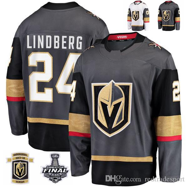 9ed0e7321a4 2019 2018 Stanley Cup Final Vegas Golden Knights Oscar Lindberg Hockey  Jerseys Stitched 24 Oscar Lindberg Grey Jersey Custom Name Inaugural Patch  From ...