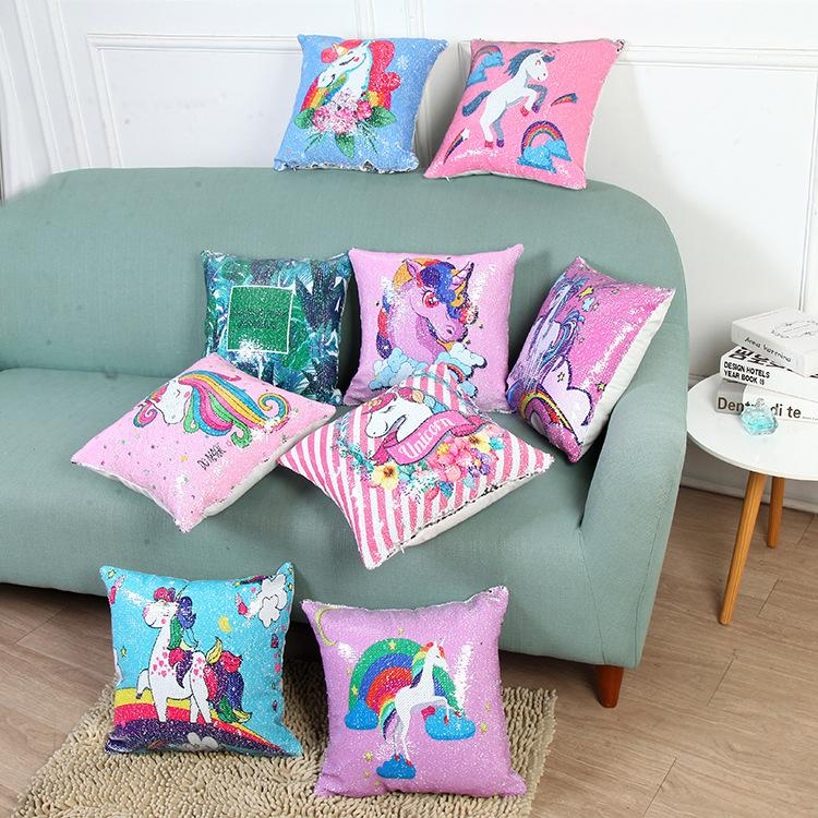 9 Styles Unicorn Sequins Pillow Case Cover Sofa Car Decorative