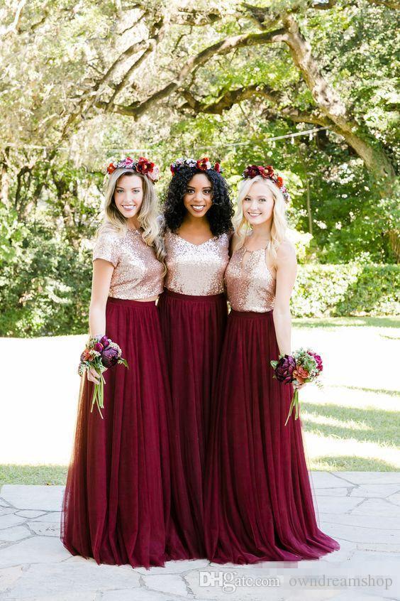 Rose Gold Sequins Borgoña País Dos piezas Vestidos de dama de honor 2018 Estilo mixto Fiesta larga Fiesta de bodas Junior Invitado vestido barato