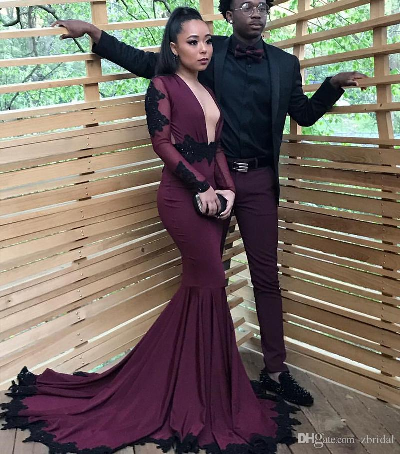 2018 New Sexy Burgundy With Black Appliques Prom Dresses Long Sleeves Mermaid 2018 Plunging V Neck Black Girls Evening Party Gowns SP071