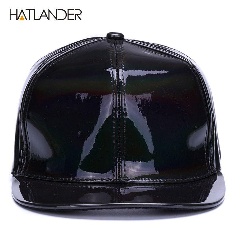 HATLANDERShining PU Flat Brim Baseball Hats For Boys Girls Solid Snapbacks  Cap PUNK Street Dancer Leather Cool Hip Hop Caps Black Baseball Cap Army  Cap From ... 5bd83df59921
