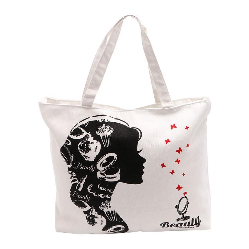 THINKTHENDO Women Shopping Canvas Shoulder Bag Messenger Purse Satchel Tote Handbag Travel Casual Fashion New White Zip Soft