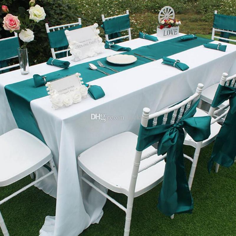 12 X 108 Inches Satin Table Runner Chair Sashes Covers For Wedding Party  Banquet Decoration Supply Top Quality 0184 Blue Lace Table Runner Blue Table  Runner ...