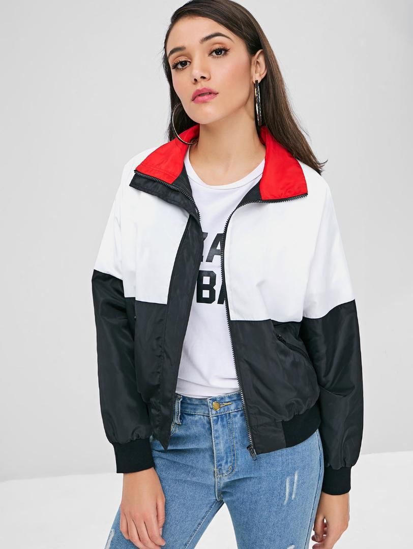 Zanstyle Casual Women Contrast Pockets Jacket Turn Down Collar Zip Style Up Color Block Girl Outwear Coat Warm Harajuku Jackets Hooded Tweed