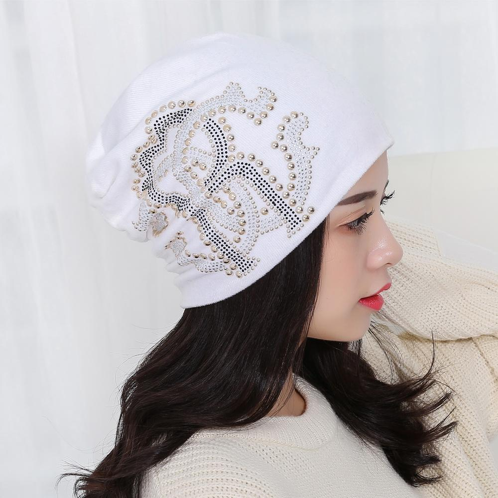 51233731c7e Women Girl Beauty Brand Hat Cap Designer Luxury Style Rhinestone Beads  Outdoor Winter Hats Colorful Cotton Trendy Beanies Gorros Crochet Hat  Baseball Hats ...