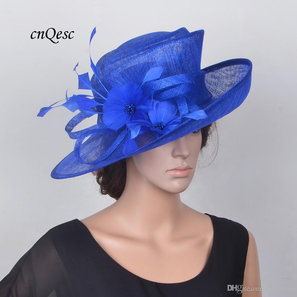 03f1c3f6f8b NEW Cobalt Royal Blue Sinamay Hat Formal Church Hat Sinamay Fascinator  Fedora With Feather Flower For Kentucky Derby