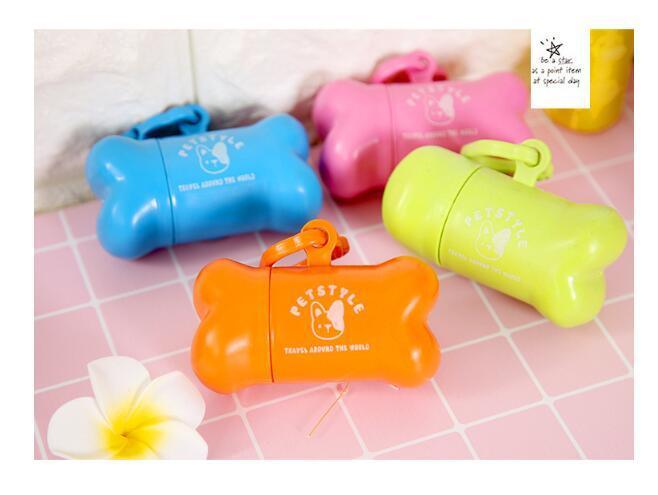 Doce Cor Dog Bags Dispenser Bone Tipo Caso Para Pet Resíduos Sacos Produtos Para Cães Atacado Varejo Produtos Para Animais Mais Quente