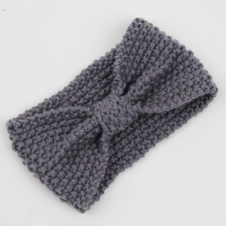 Diadema de moda Invierno Mujeres Señora Warmer Crochet Bowknot Turbante de punto Head Wrap Hairband Handmade Headhand accesorios