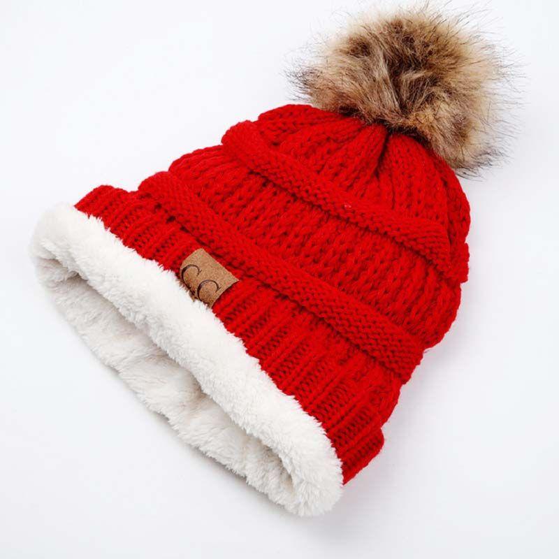 Winter Hat Pom Pom CC Leather Logo Label Winter Hats for Women Beanies  Pompom Plus Lining Warm Knitted Cap Girls Skullies   Beanies Cheap Skullies    Beanies ... cc7f4ae6b3d0