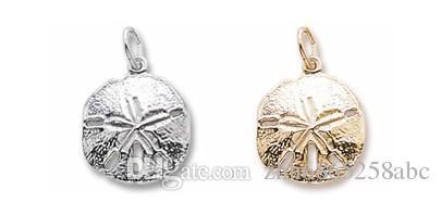 20 piezas de la playa náutica Sand Dollar encantos de la joyería de un lado de plata antigua en tonos de joyería