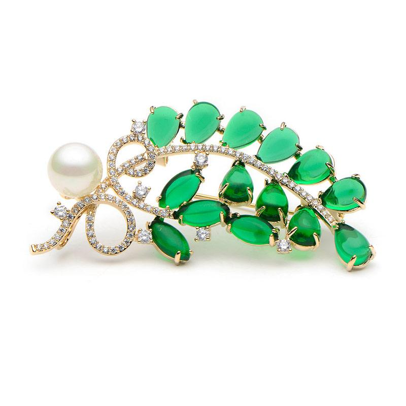 Crystal Copper Green Semi-precious Stone Flower Brooches For Women Simulated Pearl Leaves Brooch Pins Wedding Banquet Broche