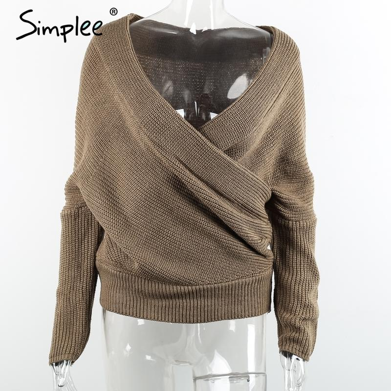 9714c41789 Simplee Sexy Thick Pullovers White Sweater Women Autumn Winter Retro Batwing  Sleeve Gray Jumper Elegant Loose V Neck Sweaters Y18102002 Online with ...