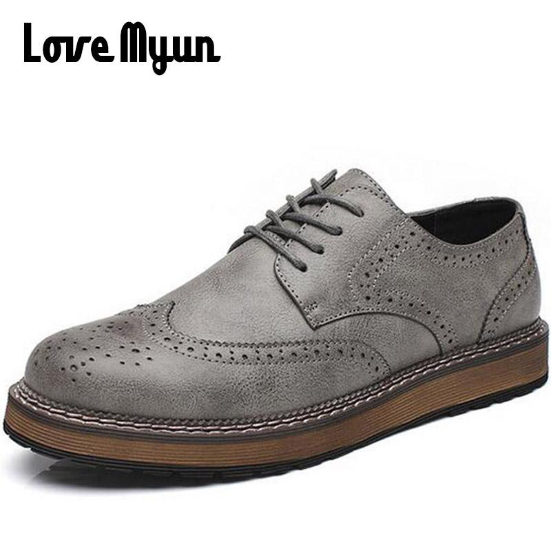new spring men fashion lace up leather retro brogue shoes casual flat Breathable Carved shoes Bullock oxfords WB-55