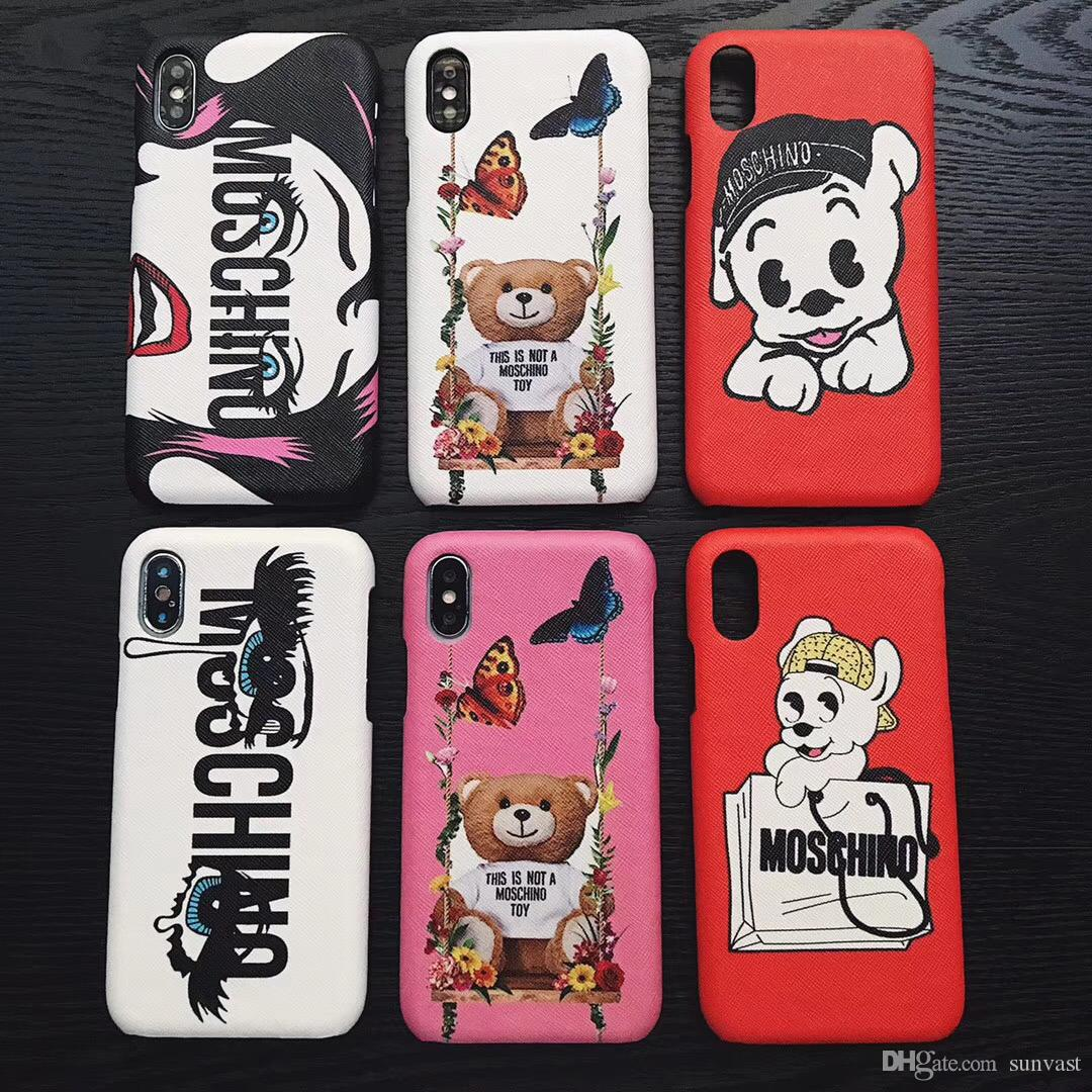 quality design a50e3 0e932 Cute bear dog Phone case for iphone x back Cover protector for iphone 6 6s  7 7p 8 plus TPU Cases