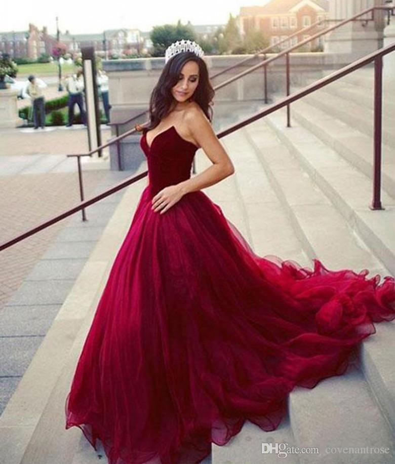 Elegant Dark Red A Line Evening Dresses Sweetheart Prom Dresses Long  Vestido Special Occasion Gowns Arabic Party Wear 2018 Evening Gown Dress  Fitted Evening ... f96f6df81