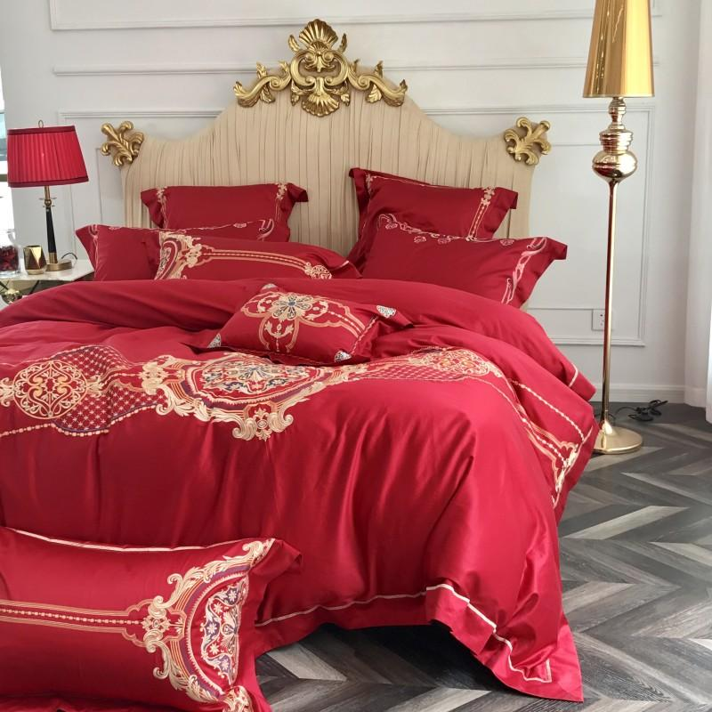 Großhandel Rot Luxus Hochzeit Stil Goldene Stickerei 100 S