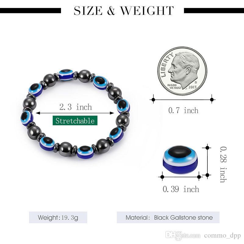 2018 energie magnetische hematit blau böse auge armband frauen moune gesund schwarz gallstone perlen ketten armreif für männer m modeschmuck