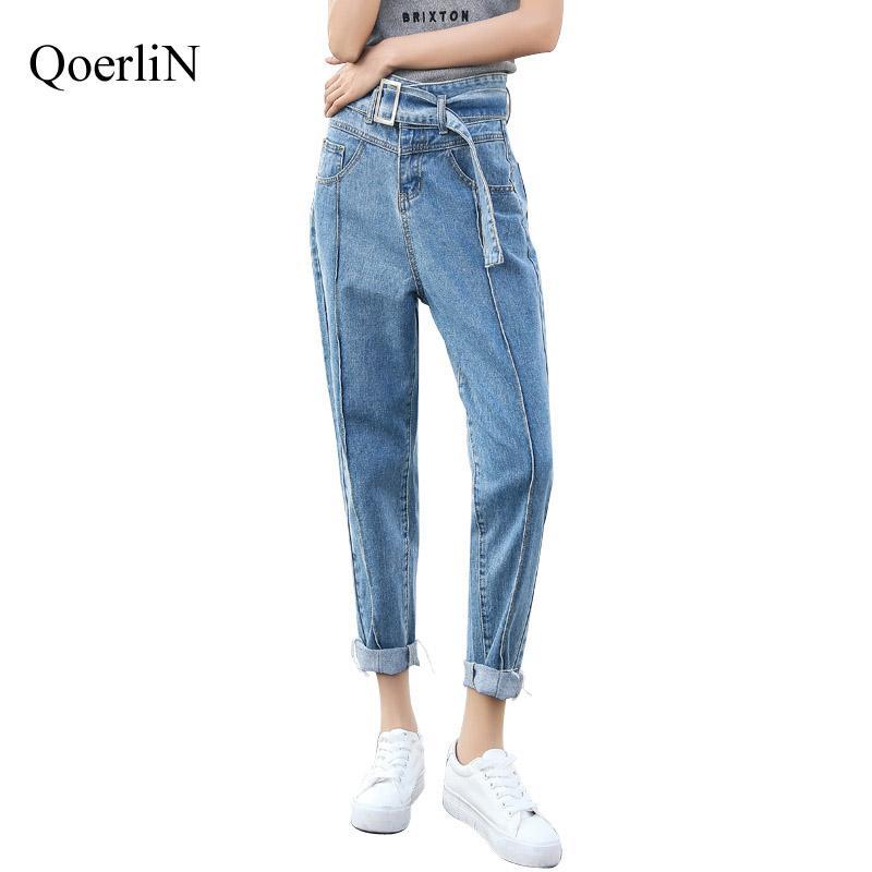 Acquista QoerliN Jeans A Vita Alta Con Cinturino In Vita Da Donna Strappato  Pantaloni Harem Pantalone Con Tasche Alla Caviglia In Denim A Forma Di  Caviglia ... d8b3c142aac