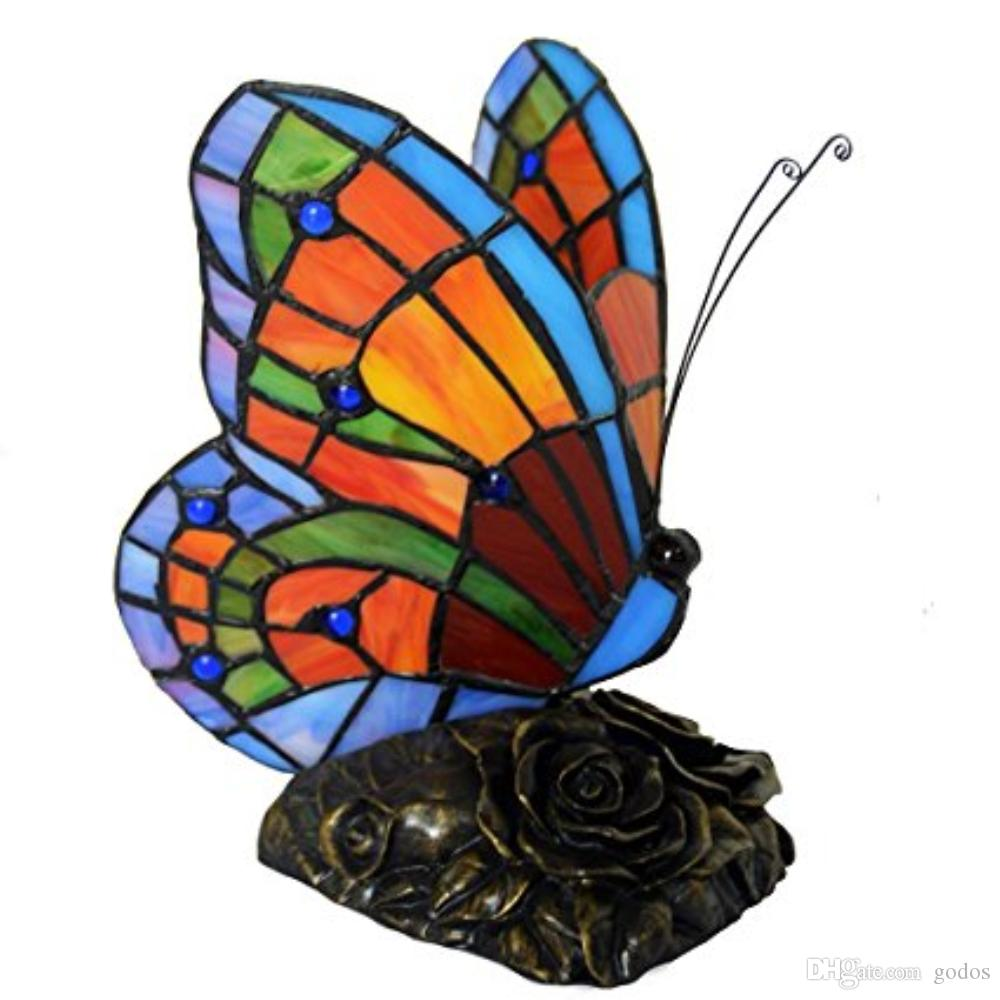 2019 Tiffany Style Stained Glass Butterfly Accent Table Lamp With