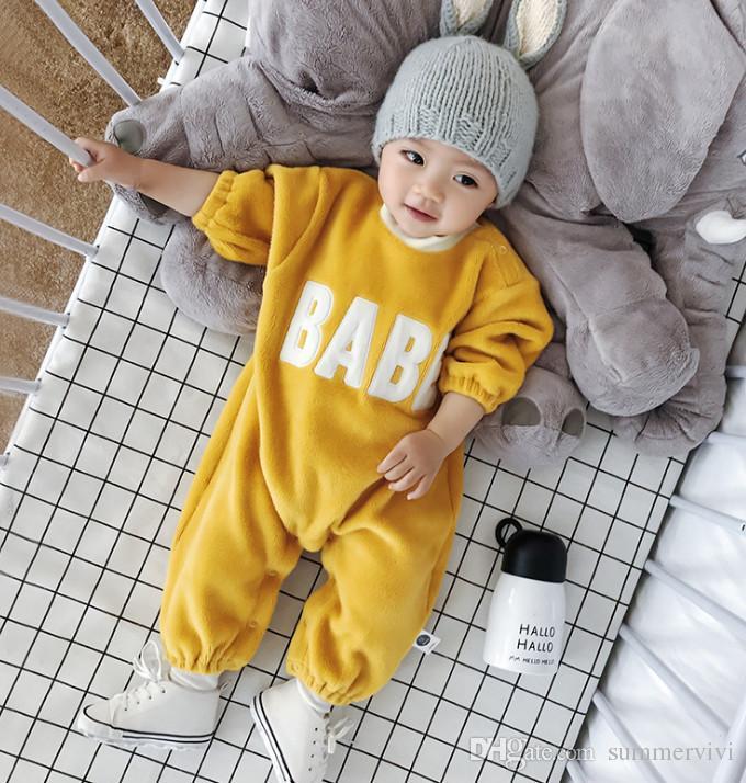 3b48e813d 2019 Infant Kids Fleece Romper Boys Letter Embroidery Round Collar ...