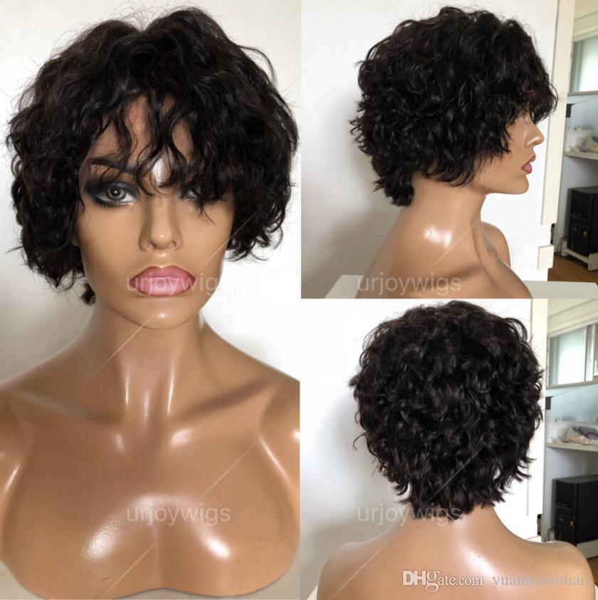 Short Curly Wig Full Lace Wigs 10A Grade Best Quality Brazilian Virgin Remy  Human Hair Lace Front Wigs For Black Woman Free Shippiin Silk Top Full Lace  Wigs ... 27fb1a46d27e