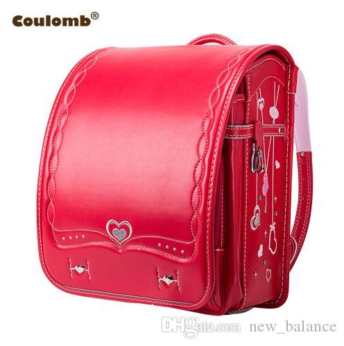 f94d63238160 Coulomb Orthopedic School Bag Children Backpack For Boy And Girl For Kid PU  Hasp Japan Randoseru Kid Bag Love Necklace New Overnight Bags Kids School  Bags ...