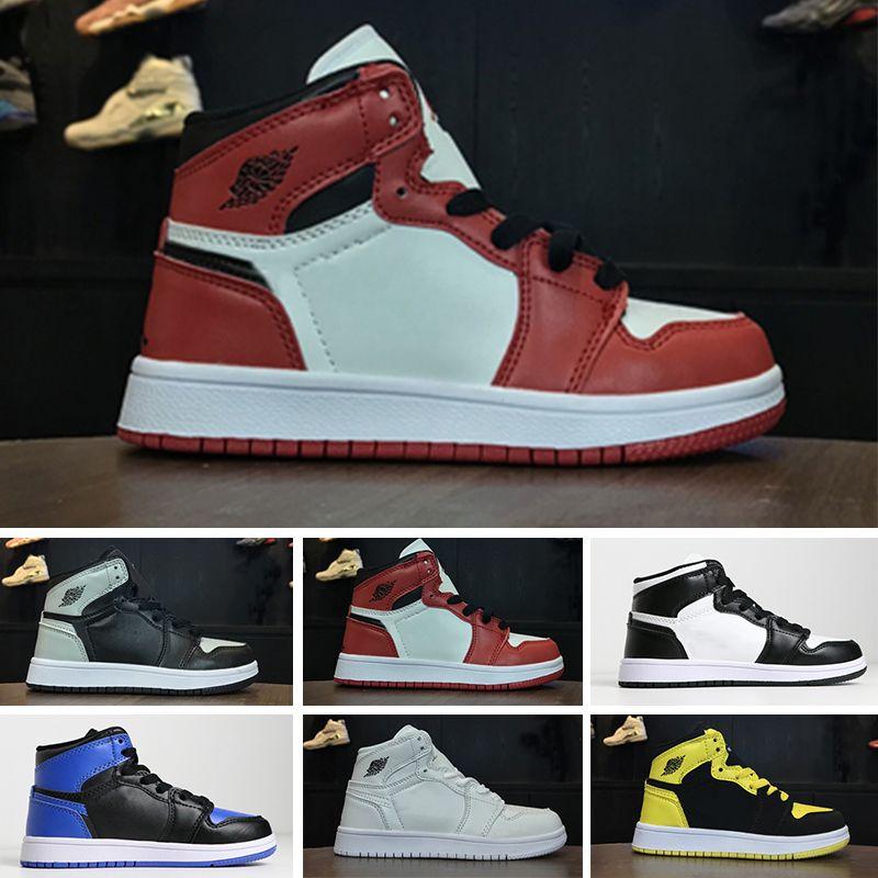 great fit d03c1 817a3 Großhandel Nike Air Jordan 1 Retro Designer Schuhe 1 OG Kinder Basketball  Schuhe Outdoor Sportschuhe Kinderturnschuhe UNC Chicago Mandarin Ente Junge  ...