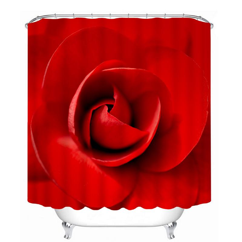 2019 3D Wedding Sexy Red Rose Pattern Shower Curtains Bathroom Curtain Waterproof Thickened Bath For Lovers Customizable From Goutour