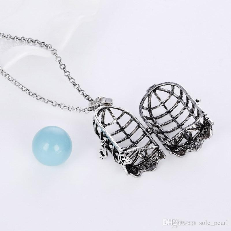 Disffuser Necklace cage à oiseaux cône accessoires perles médaillon huile essentielle diffuseur colliers creux sur médaillon cage pendentif collier en gros