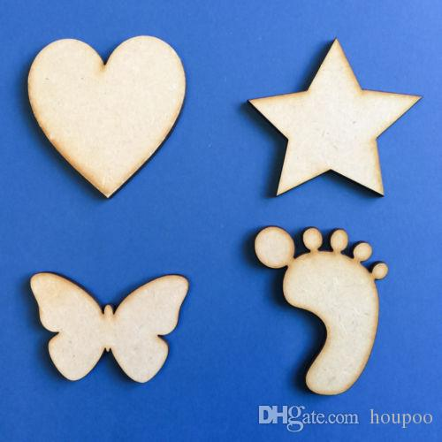 50pcslot Mixed Size Wooden Mdf Shapes Hearts Stars Butterfly Bunting Button Craft Home Room Decor Party Supplies Wedding Decoration